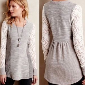 Athropologie Saturday Sunday Lace Sleeves Tunic